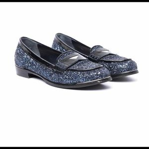 Miu miu sparkle loafer size 38 in navy